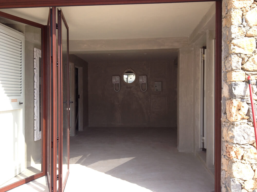 pareti in microcemento in costruzione