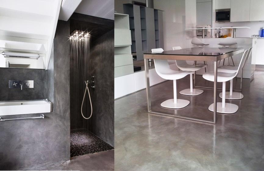 cemento sul pavimento in una cucina moderna