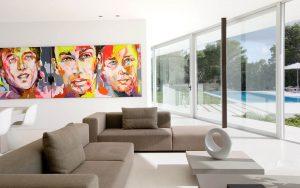 appartamento con soggiorno in microcemento